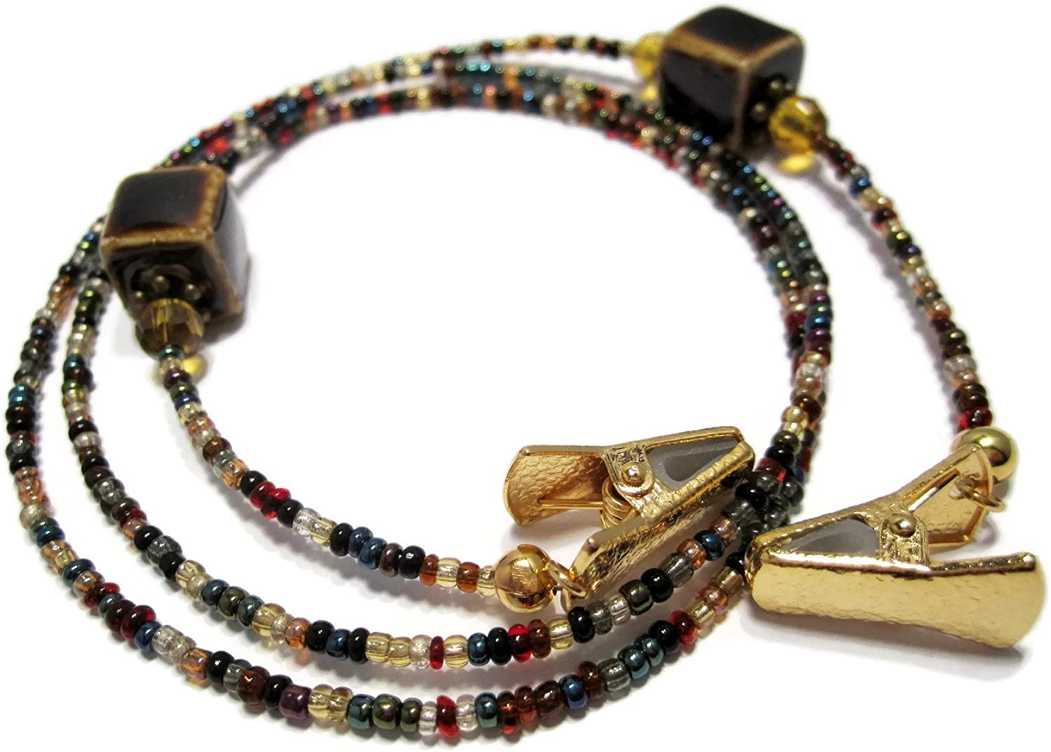ATLanyards Brown Cube Beaded Eyeglass Holder with Gold Clips, Non Slip Glasses Chain
