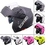 Leopard DOUBLE SUN VISOR Flip up front Motorcycle Motorbike Helmet ECE 2205 Approved - Matt Black M (57-58cm)