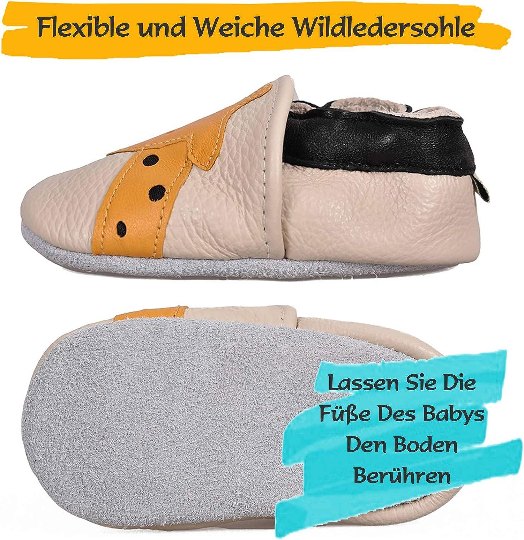 BAOLESEM Baby Lauflernschuhe Jungen M/ädchen Weicher Leder Krabbelschuhe Kleinkind Babyhausschuhe Rutschfesten Wildledersohlen