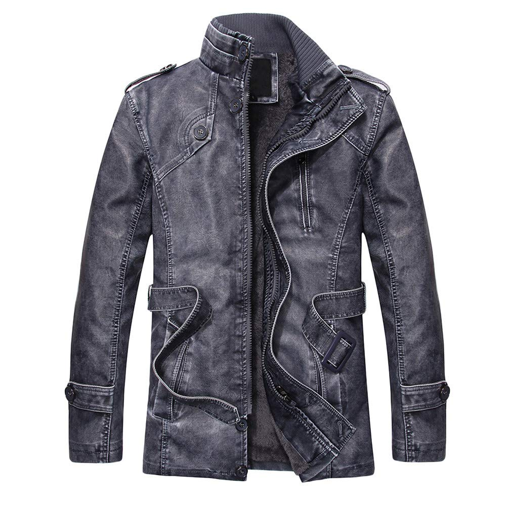 YKARITIANNA Men's 2018 New Coat,Fashion Autumn Winter Novelty Faux Leather Standing Collar Long Slim Washed Jackets Coat by YKARITIANNA Mens Tops