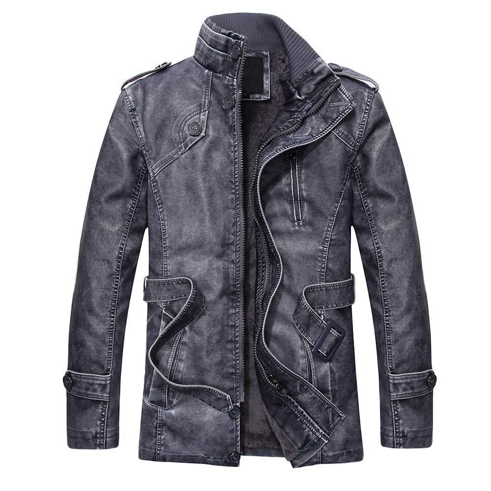 Feitengtd Mens Autumn Winter Leather Standing Collar Long Slim Zipper Vintage Washed Jackets Coat