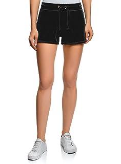 oodji Ultra Mujer Pantalones Cortos de Algodón con Cordones, Morado, ES 34 / XXS: Amazon.es: Ropa y accesorios