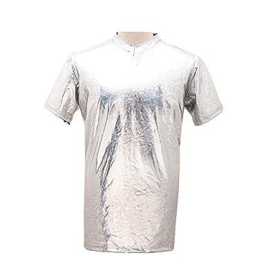 aa64a836 Mens Metallic T-Shirt Wet Look Faux PVC Fancy Dress Stag Nights Party Wear  Top (Metallic Silver XL): Amazon.co.uk: Clothing