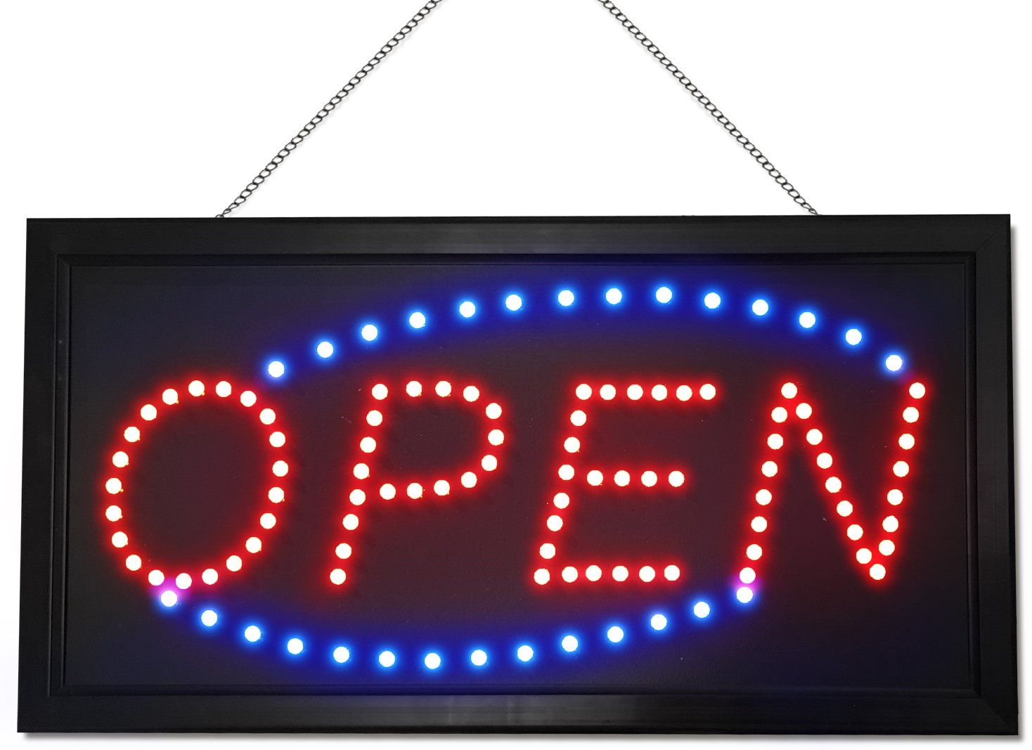 Neon Style LED Open Sign - Red / Blue Lights - Extended Power Cord - 2 Modes - Flashing / Steady Motion - Sturdy Chain - Best Signs for Business or Office - Perfect for Man Cave or Home Bar Decor