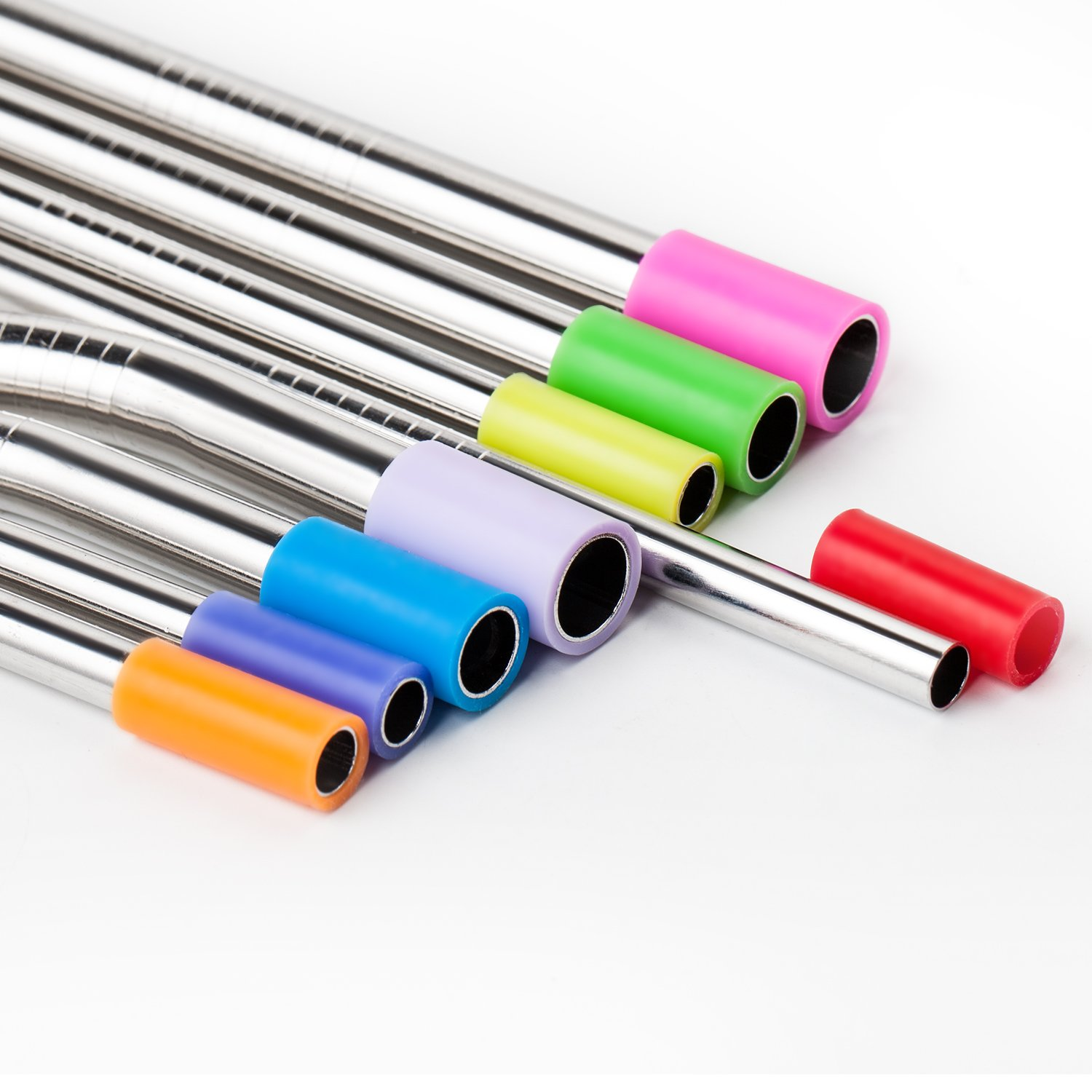 YIHONG Stainless Steel Metal Straws Set of 8 Pcs Reusable Drinking Straws with 2 Cleaning Brushes Silicon Cover for 20 30oz Tumblers 3 Sizes 6mm|8mm|9.5mm 2 Lengths 8.5 Inch|10 Inch