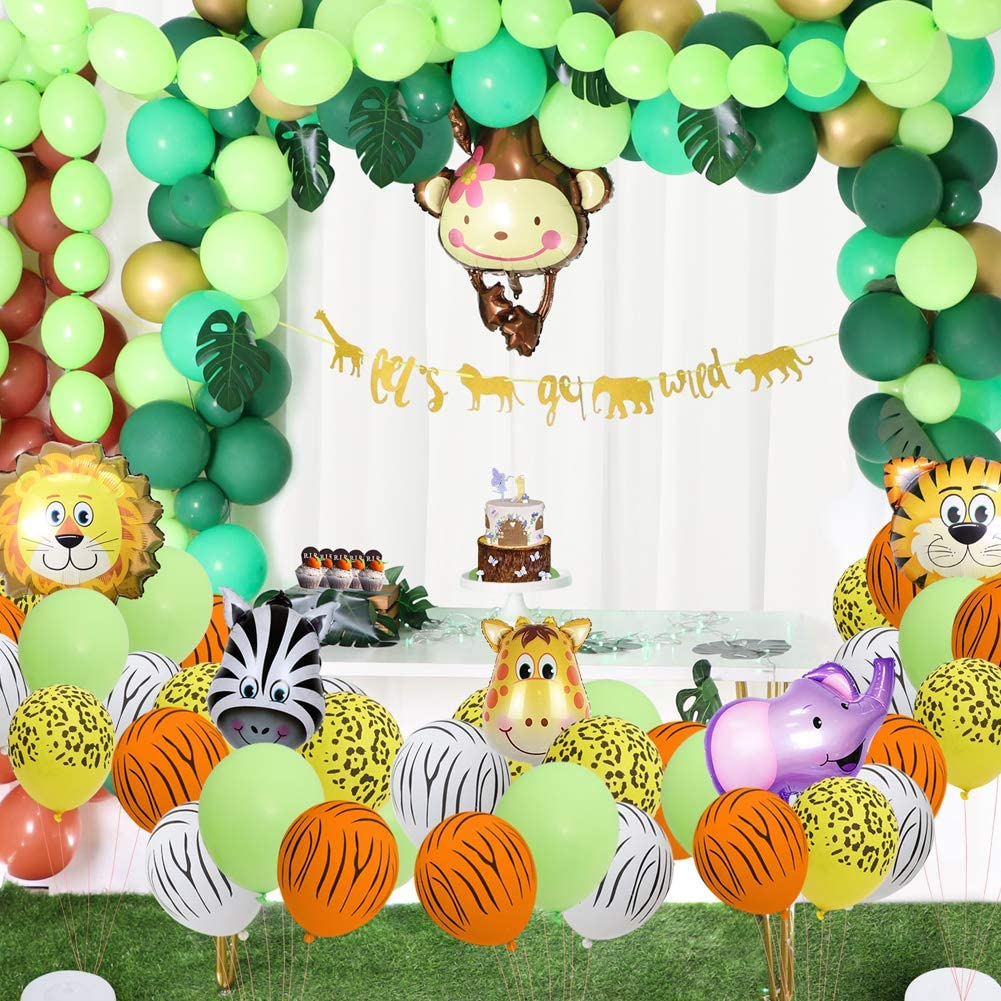Amazon Com Foci Cozi 148 Pack Jungle Safari Theme Party Decorations Set 148 Latex Balloons 12 Green Palm Leaves 1 Banner 4 Cake Topper 16 Feets Arch Balloon Strip Tape 1 Balloon Tying Tools
