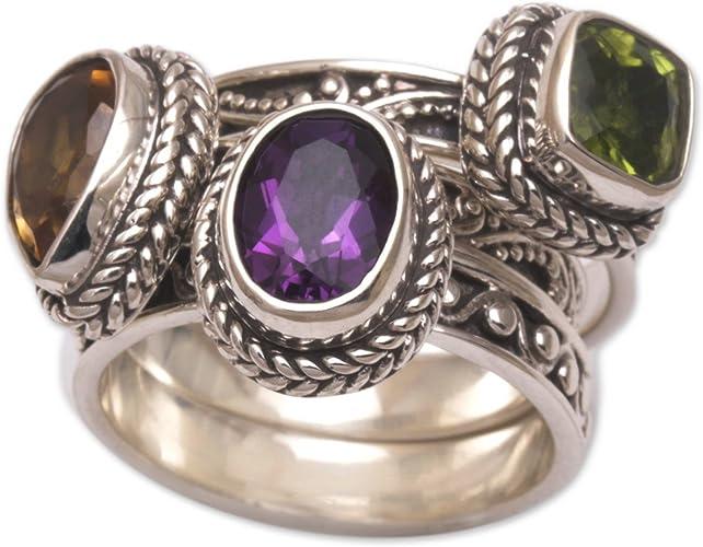 925 Sterling Silver Green Amethyst Ring Teardrop Pear Gemstone Stack Sz 6 7 8 9