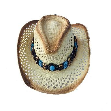 6a179fdf MYZOPER Woven Wide Brim Western Straw Cowboy Hat with Decorative Band  (Brown)