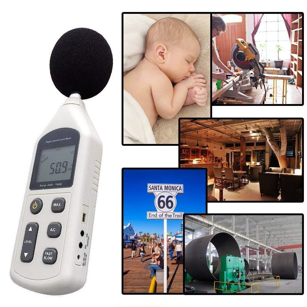 Amgaze Medidor de Nivel de Sonido Digital 30~130dB Probador de Medici/ón de Ruido de Decibelio Registrador de Datos de Decibel con Tiempo Monitor de DB de Interfaz USB para Uso en Interior//Exterior