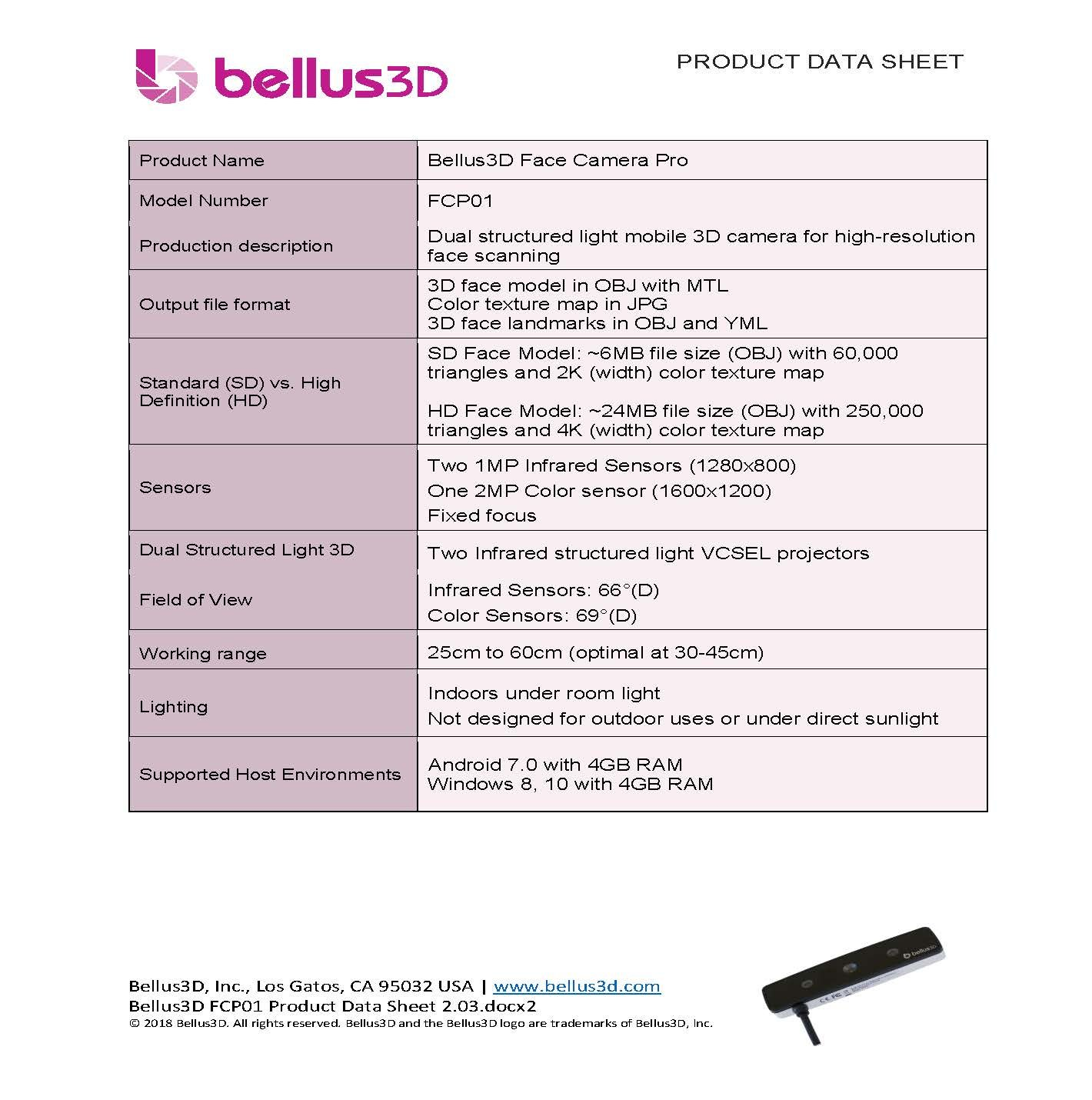 Bellus3D Face Camera Pro