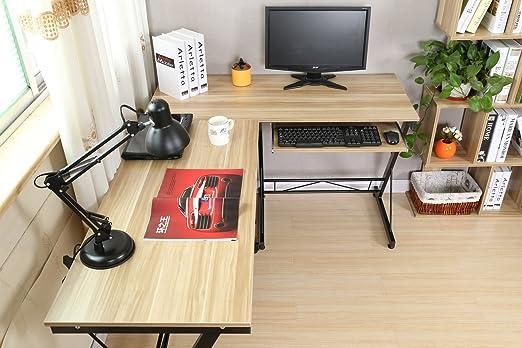 120 73cm Couleur Naturelle-035 HLC Table Bureau Informatique Bureau d/'Angle Ordinateur 161