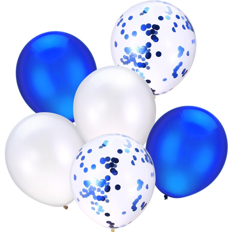 Jovitec 30 Pezzi 12 Pollici Palloncini in Lattice Palloncini di Coriandoli per Matrimonio Ragazze Baby Shower Festa Decorazione (Bianco e Blu)