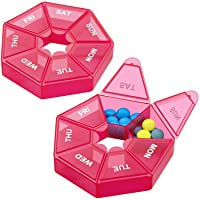 Weekly Pill Organizer,Portable Pill Box Medicine case (Seven Day) New Edition for Vitamin/Fish Oil/Pills/Supplements-Arthritis Friendly (Red)
