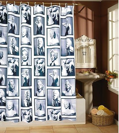 Amariver 72u0026quot;×72u0026quot; Mildew Resistant Marilyn Monroe Waterproof  Fabric Shower Curtain, Retro