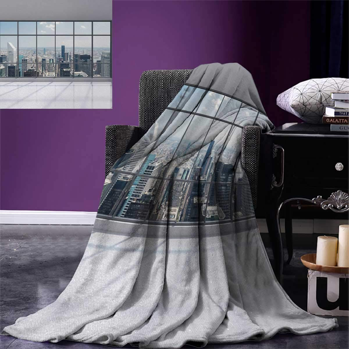 Anniutwo City Warm Microfiber All Season Blanket Clean Office Big Window Downtown Skyscraper Buildings Domestic Cityscape Art Print Image Blanket 62''x60'' Grey White