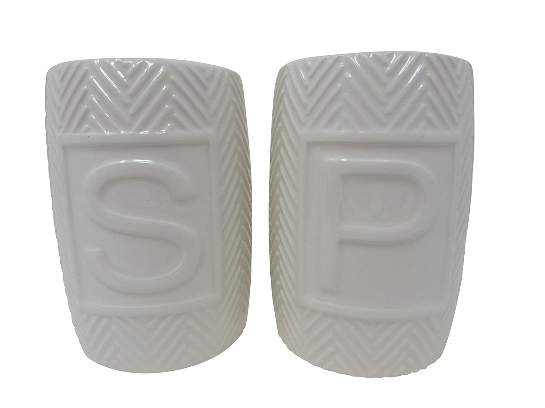 Modern Unique Rustic Home D/écor! Set of 2 New w//Spoon Rest! Shabby Chic Quality Retro Salt /& Pepper Shakers Porcelain Blue Premium