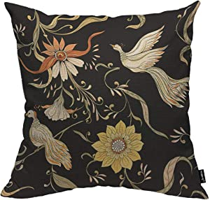 HOSNYE Flowers and Birds Throw Pillow Cushion CoversArt Nouveau Style Vintage Old Retro Style Decorative Square Accent Pillow Case 18 x18 inch