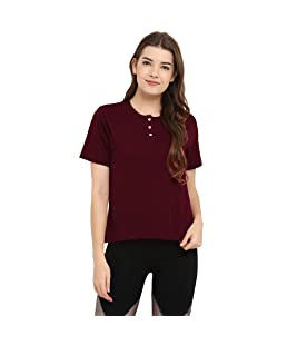 CHKOKKO Women's Poly Cotton Round Neck Short Sleeve Plain Henley Tshirts (Red and Maroon, Large)