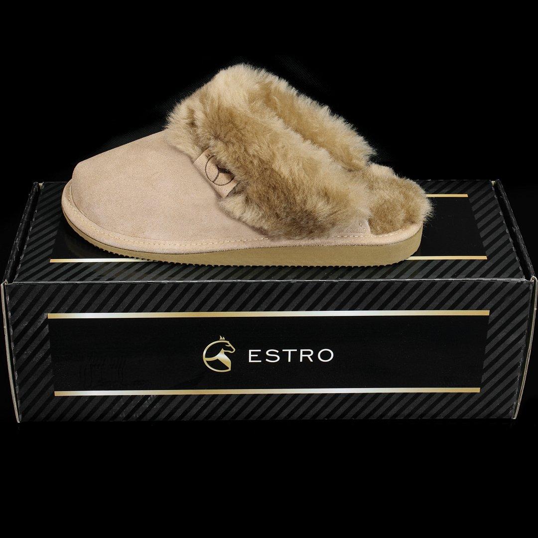 fca4a0881f19c ESTRO Chaussons en Cuir Femmes Pantoufles Femme Hiver Pantoufle Peau de  Mouton Intimo  Amazon.fr  Chaussures et Sacs