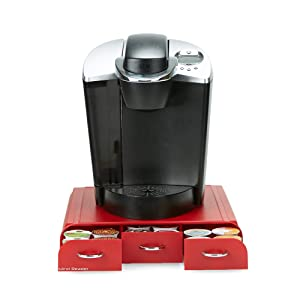 Mind Reader REDCUP 36 Capacity K-Cup, Dolce Gusto, CBTL, Verismo, Single Serve Coffee Pod Holder Drawer, Red One Size 2