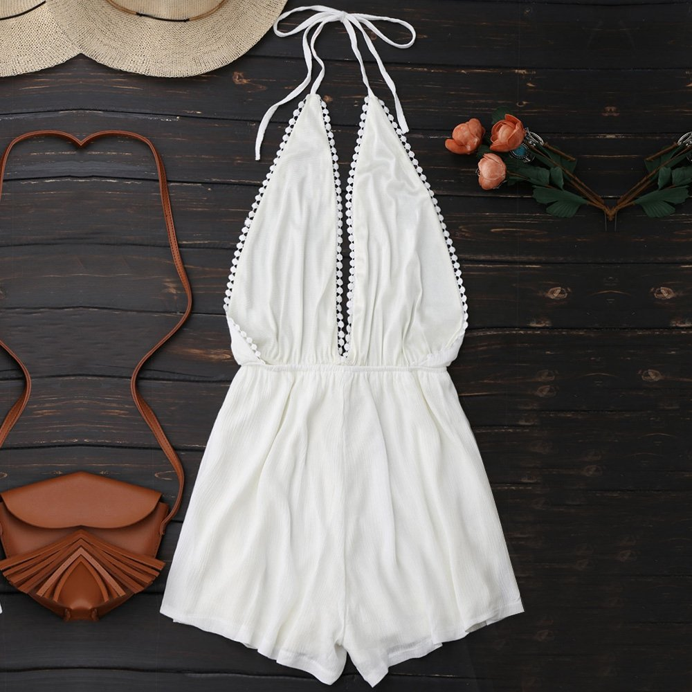 3dee928c565 DressLily Halter Plunge Drawstring Linen Romper at Amazon Women s Clothing  store