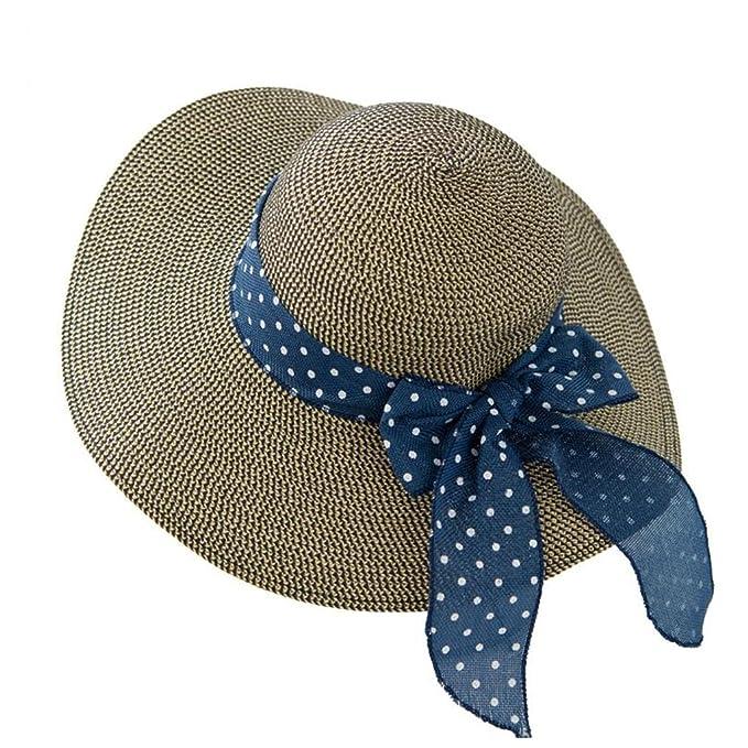 70c7951ac YXINY Viseras Gorro De Playa Mujer Verano Vacaciones Mar Sombra Protección  Solar Daqi Sombrero De Paja Plegable (Color : Azul Marino): Amazon.es:  Jardín