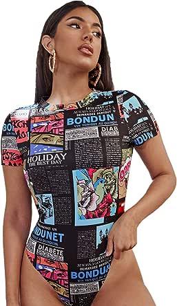 WDIRARA Women's Newspaper Graphic Short Sleeve Letter Skinny Leotard Bodysuit