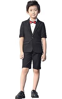 3ae28eaf06 Amazon.com: Boys Summer Suit Set 3 Pieces Shirt Vest and Shorts Set ...
