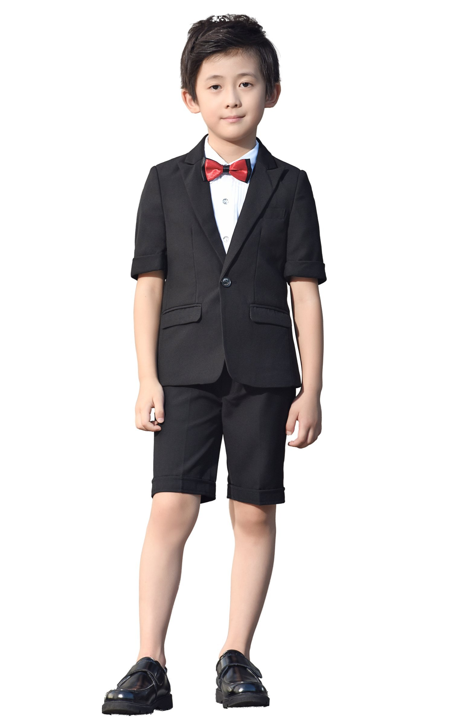 Iyan Boys Short Suits 5 Piece Slim Fit Suit for Boys Black Size 4T