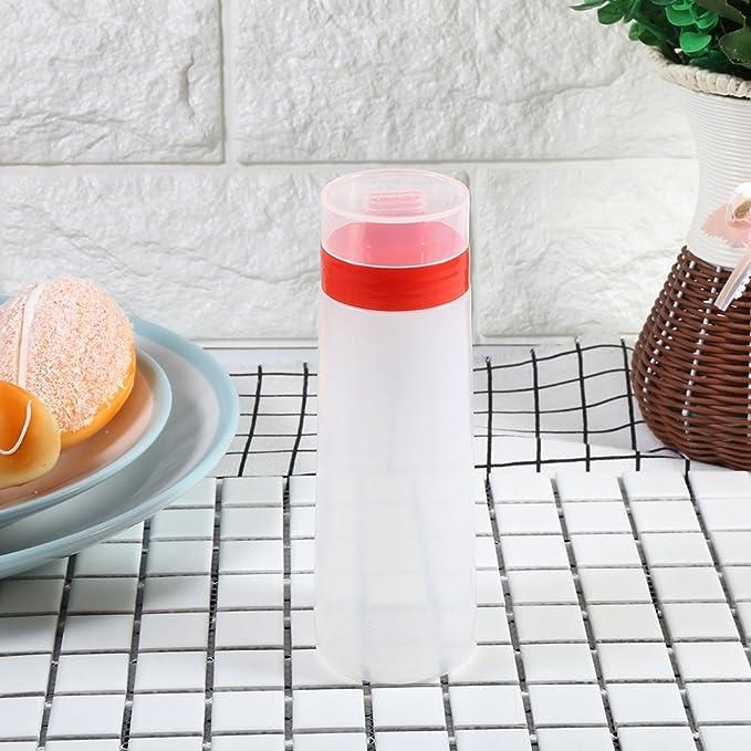 DEWIN Squeeze Bottle - Botella de Salsa de Resina Segura de 4 Agujeros para Salsa de Tomate, Mermelada, mayonesa, Aceite de Oliva, Amarillo/Rojo (Color ...