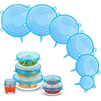 Silicone Stretch Lids, Zero Waste Reusable Silicon Container Lid for Cover Leftover Food and Fruit or Bowl (6PCS, Blue)