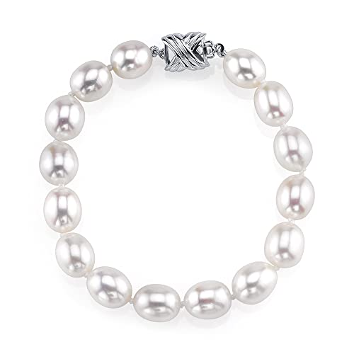 THE PEARL SOURCE Sterling Silver 10-11mm AAA Quality Oval White Freshwater Cultured Pearl Bracelet for Women