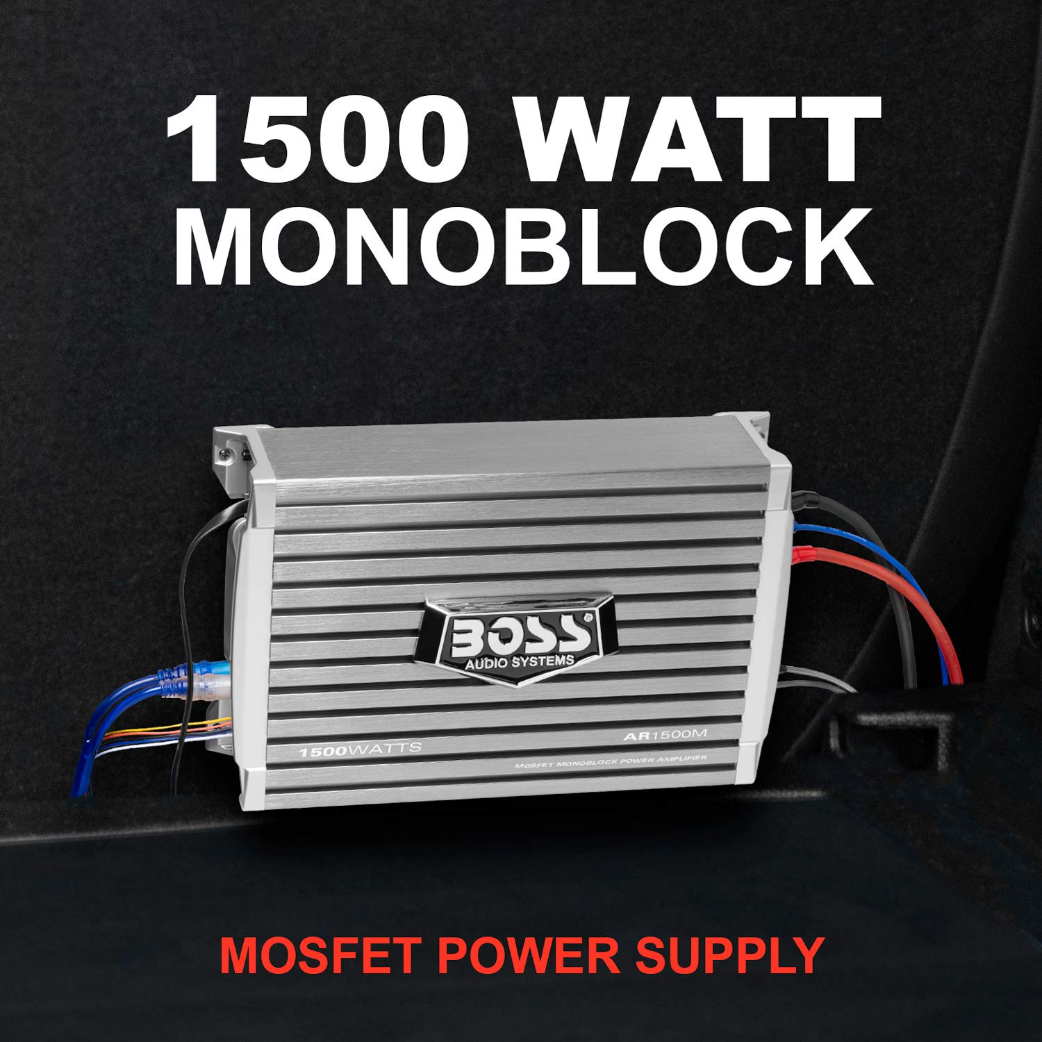 Boss Audio Ar1500m Car Amplifier 1500 Watts Max Power 25 Watt Mosfet 2 4 Ohm Stable Class A B Monoblock Supply Remote Subwoofer Control
