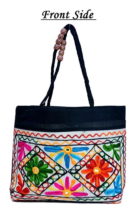 6213e322ed Black Traditional Ethnic Embroidered Mirror Work Rajasthani Bag Ladies  Cotton Handbag Purse  Amazon.in  Bags