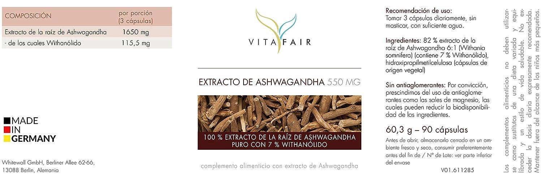 Extracto de Ashwagandha | 1650 mg por porción | 90 cápsulas | 7% de withanólidos=115,5mg | Adaptógeno ayurvédico | Vegano | Máxima biodisponibilidad ...