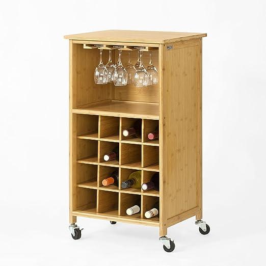 SoBuy® Estante de Vino para 16 Botellas botellero, Carrito de ...
