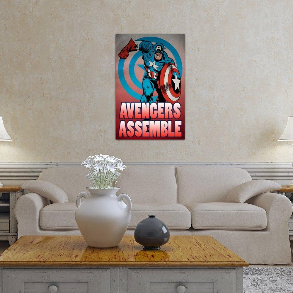 iCanvasART 3 Piece Marvel Comic Book Captain America Tagline 60 by 40//0.75 Deep Avengers Assemble Canvas Print by Marvel Comics