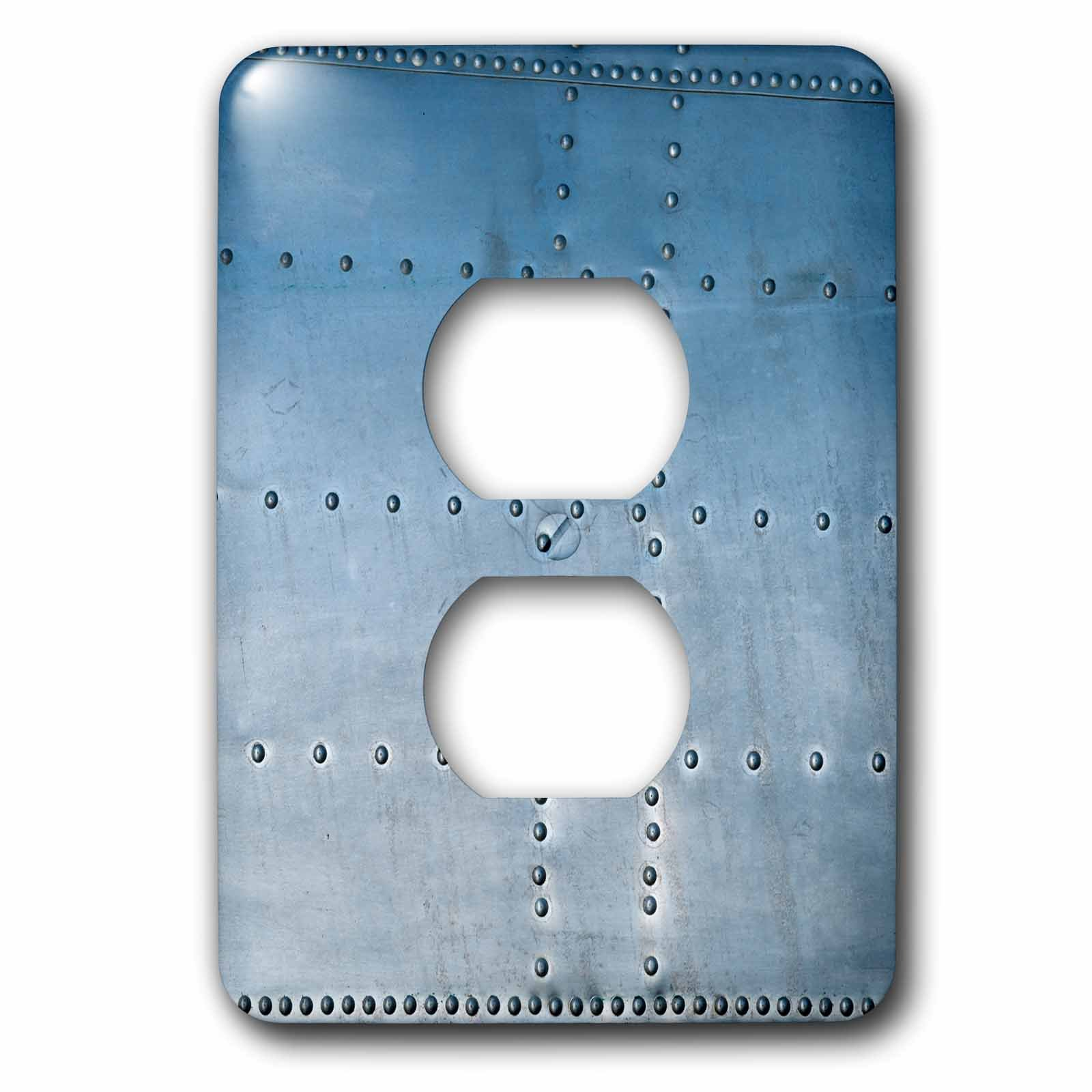 3dRose Alexis Photography - Abstracts of Aviation - Bluish abstract of a vintage aluminum aircraft body. Rivets and seams - Light Switch Covers - 2 plug outlet cover (lsp_272044_6)