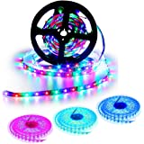 SUPERNIGHT LED Strip Lights , 5M 16.4 Ft SMD 3528 RGB 300 LED Color Changing Flexible Strip Light with 44 Key IR Remote Control and 12 Volt 2A Power Supply