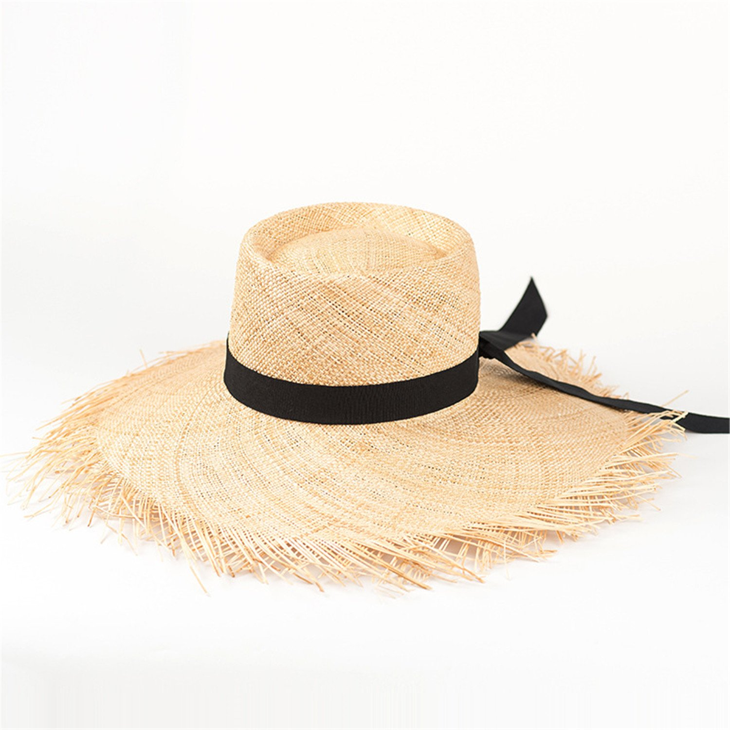 bbba3b78aec Hat Summer Women Straw Bucket Hat New Fashion Beach Sun Hats Panama Hats  with Frayed Edges 681002 001 Bow OSFM at Amazon Women s Clothing store