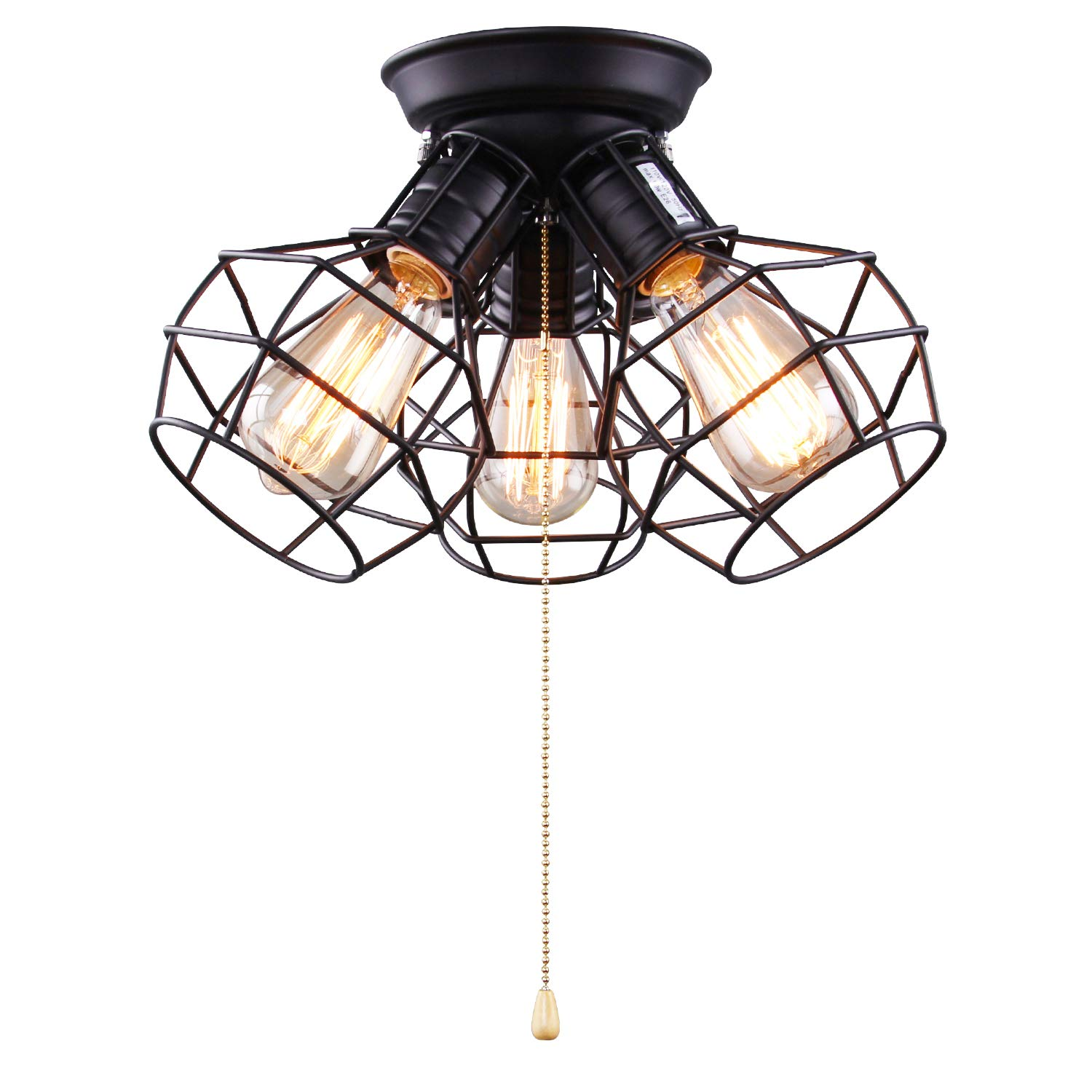 Laluz 3 light wire cage ceiling lighting with pull string industry close to ceiling light fixture
