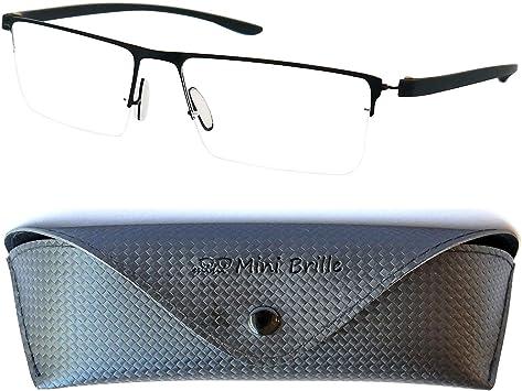 Funda GRATIS Media Montura de Acero Inoxidable Negra Gafas de Lectura con Cristales Rectangulares Gafas Para Leer Hombre y Mujer +1.5 Dioptr/ías