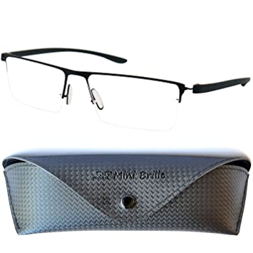 5425e474a949 Half Frame Metal Reading Glasses with Rectangle Lenses