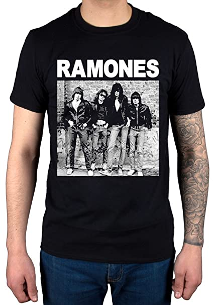 ec680f86 AWDIP Men's Official Ramones First Album Cover T-Shirt Punk Rock Band  Johnny Joey Black