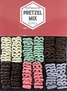 Chocolate Covered Pretzels Gift Box by Coco's Gift Baskets. 6 Assorted Flavors. Milk, Dark Chocolate, Blueberry, Key Lime, Strawberry, Yogurt. Gift for Holidays. (Pretzels)