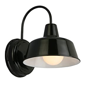 "Design House 579367 Mason 1 Indoor/Outdoor Wall Light, Black, 8"","