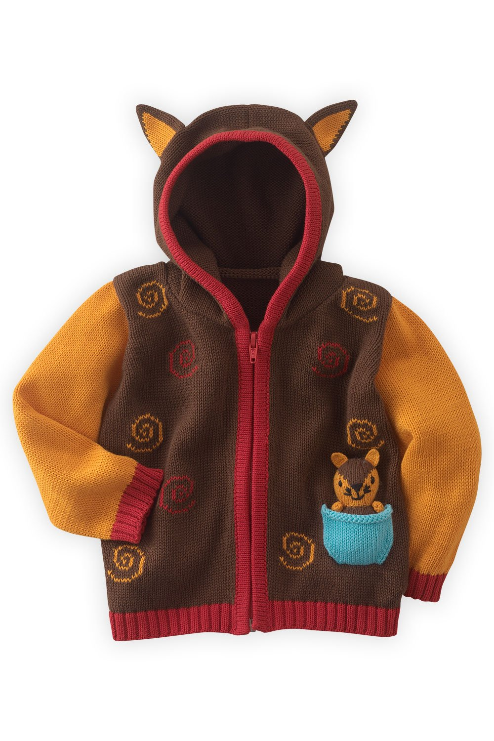Joobles Organic Baby Cardigan Sweater - Silly The Fox (6-12 Months) Brown by Joobles