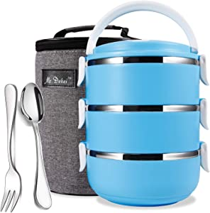Mr.Dakai Stackable Stainless Steel Lunch Box/Snack Box, 3-Tier Leak Proof Bento Box/Food Storage Container with Insulated Lunch Bag & Fork Spoon, BPA free, for Adults, Men Women (Blue Round)