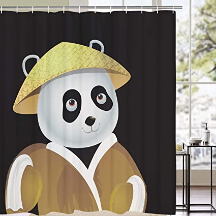 BLEUM CADE Panda Shower Curtain Cute Wearing Hat Animal Waterproof Mildewproof