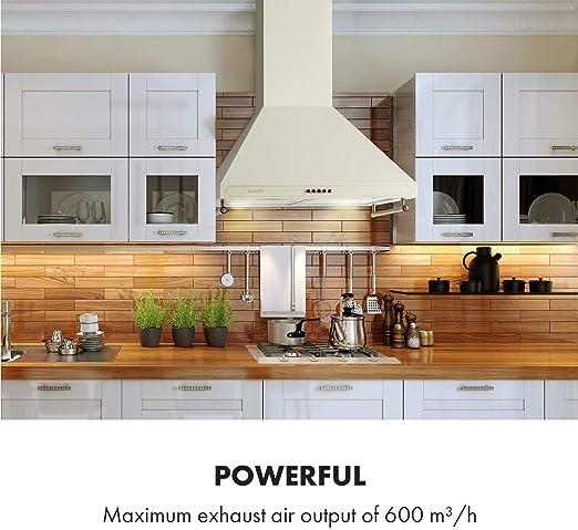 Klarstein Victoria Retro - campana extractora 60 cm, extracción de 645 m³/h, barandilla, 3 niveles de potencia, 2 LED, 2 filtros de grasa de aluminio, apto para ventilación, extractor de pared, marfil: Amazon.es: Hogar
